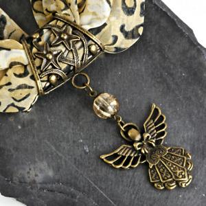 Bronze Angel & Stars Pendant, Handmade Slider Scarf Ring, Crackle Glass Beaded