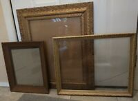 Vintage 3 PICTURE FRAME Lot Recycle Arts Craft Deco gold ornate scroll antique
