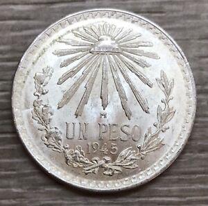 1945 Mexico Un Peso Cap & Rays Silver Coin (G618)