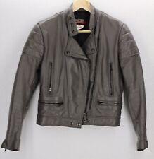 VTG Brooks Leather Sportswear Motorcycle Jacket Cafe Racer Coat Biker Gray 34
