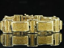 Mens 10K Yellow Gold Genuine Yellow Diamond Bracelet Pave Tennis Link Dome 4 ct.