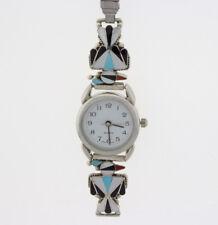 By Zuni Artist Fabian Cellicion Ladies Thunderbird Multi-Stone Inlay Watch Tips