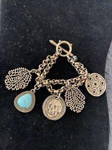 Lucky Brand Yellow Goldtone Howlite Skull Filigree Chain Link Bracelet