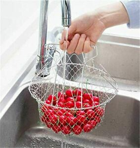 Kitchen Drain Basket,Multi-Purpose New 304 Stainless Steel Frying Large Strainer