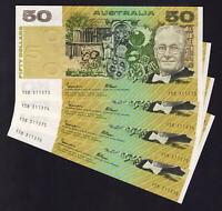 AUSTRALIA R-509b. (1985) 50 Dollars - Johnston/Fraser. OCRB.  UNC - CONSEC Run 4