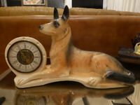 Vintage JEMA HOLLAND Alsatian German Shepherd DOG CLOCK Ceramic Mantle Sculpture