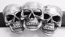 Pirate Triple Skull Belt Buckle - Hand Made in Pewter *** LAST FEW ***