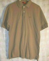 Izod Mens Size M Tan Beige Short Sleeve Polo Shirt