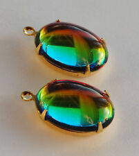 VINTAGE GLASS OVAL PENDANT BEADS VITRAIL 'SPECIAL EFFECT COLOR' 18x13mm