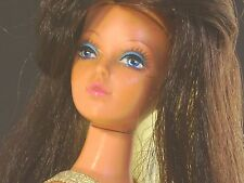 Ideal Tuesday Taylor Doll Vtg 70s w Stand Turquoise Barbie Dress Two Tone Hair