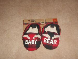 NEW, DEARFOAMS BABY BEAR PLAID SLIPPERS, SIZE 3-4