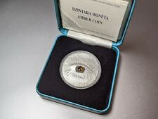 More details for latvia 1 lats amber eye art silver coin 2010 - mint condition sealed (proof)