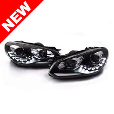 10-14 VW GOLF/GTI MK6 R STYLE E-CODE PROJECTOR HEADLIGHTS W/ LED STRIP - BLACK