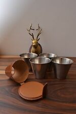 Mid Century Modernist 'Ria' Danish Stainless Steel / Tan Leather Hunting Cups