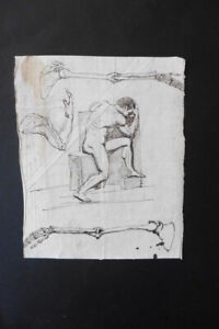 FRENCH NEOCLASSICAL SCHOOL 18thC - STUDY MALE NUDE AND ANATOMY - INK DRAWING