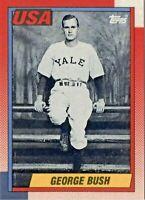 1990 Topps Baseball #USA1 President George Bush Yale University College REPRINT