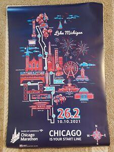 "2021 Bank of America Chicago Marathon Poster New Sealed 36"" x 24"""