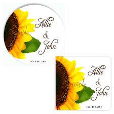 Mammoth Sunflower Personalized Wedding Favor Labels, Bridal Shower Favor Labels