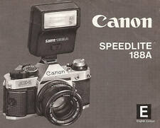 CANON 188A SPEEDLITE CAMERA FLASH INSTRUCTION MANUAL -CANON F1-A1-AE1-AL1-AV1
