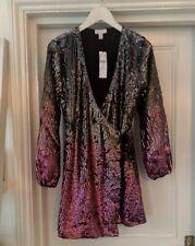 Topshop Wrap Ombre Sequin Mini Dress Size 4 Petite ASOS Zara H&m