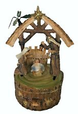 ROMAN Vtg Christmas Nativity Holy Family Music Box Ring Drawer Look of Wood Rare