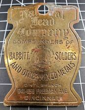 Antique Advertising Clip: National Lead Company, Babbitt Solders, Cincinnati