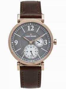 LUCKY BRAND Carmel boyfriend chocolate brown leather strap 38 mm Women's watch