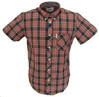 Brutus Black/Red Check Short Sleeved Vintage Retro Mod Button Down Shirts