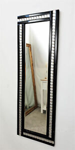 Full Length ArtDeco Acrylic Crystal Glass Design Bevelled Mirror 120x40cm Black