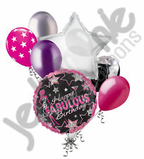 7 pc Happy Fabulous Birthday Balloon Bouquet Party Decoration Black White Rose