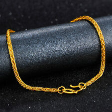 "NEW Real 24K Yellow Gold Bracelet Woman's Elegant Wheat Lucky Chain 7.1""L 3-3.5g"