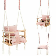 Babyschaukel Kinderschaukel zum Aufhängen Holz Stoff  Rosa