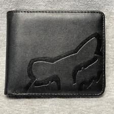 Fox Leather Bifold Wallet - Black - New