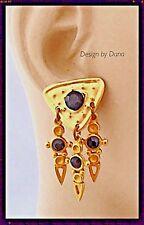 Museum-Brushed Gold-Swarovski Crystal-Dangle-Liner Shape-Charm Earring-Dana