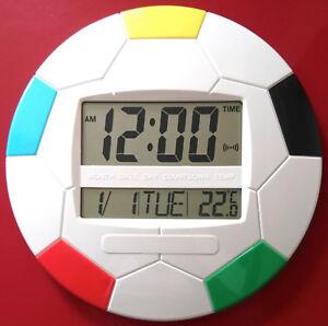 Large LCD Digital Wall Clock Round Football 26cm Alarm Date Tempertaure Time