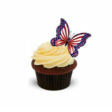 NOVELTY AMERICAN STYLE BUTTERFLY 12 STANDUP Edible Cake Toppersbirthday