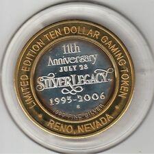 2006 Silver Legacy Reno 11th Anniversary .999 Fine Silver $10 Casino Token