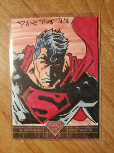 Superman The Legend 2013 Cryptozoic DC Sketch Card Red Eyes 1/1 Dave Pops Tata