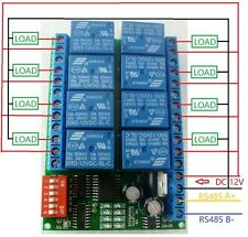 8CH 12V Modbus RTU RS485 Relay Module Switch Board for PLC Lamp LED PTZ Camera