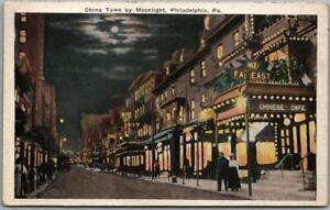 "1922 Philadelphia, Pennsylvania Postcard ""China Town by Moonlight"" Street Scene"