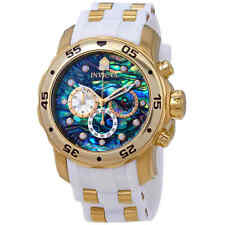 Invicta 48mm Pro Diver Scuba Abalone Dial 18kt Gold Plated Chronograph Watch