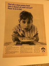 1964 VINTAGE 10X13 Ad FOR QUAKER OATS FROM A WARM BED TO COLD CEREAL POOR KID