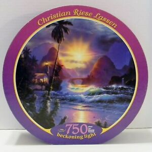 """Christian Riese Lassen BECKONING LIGHT round puzzle 750 Piece 24"""" Counted Pieces"""