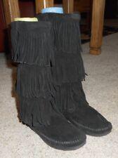 MINNETONKA MOCCASIN 3-Layer Fringe boots black suede leather 6 EUC $98