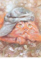 RARE Red cat dreamer in hat by Annet Loginova Russian modern postcard