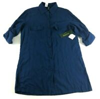 Lauren Ralph Lauren New Womens Blue Long Sleeve Button Front Shirt Size Medium