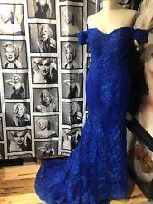 Blue Off The Shoulder Formal Wedding Gown Med Floweral Lace Short Train