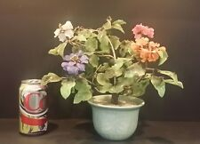 "Large Vintage Chinese Glass Flower Bonzai Tree Celadon Pot 11"" Tall"