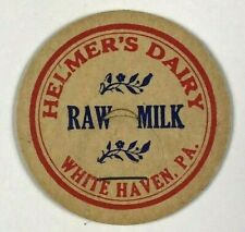 Helmer's Dairy White Haven PA Pennsylvania Vintage Raw Milk Bottle Cap Red Blue