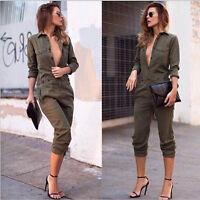 Femmes manches longues Combi Clubwear Bodycon combinaison salopette pantalon IU